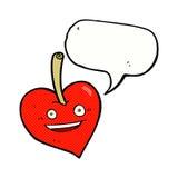Cartoon love heart apple with speech bubble Stock Image