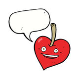 cartoon love heart apple with speech bubble Royalty Free Stock Images