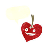 Cartoon love heart apple with speech bubble Royalty Free Stock Photography