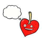 cartoon love heart apple with thought bubble Royalty Free Stock Photos