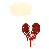 Cartoon love heart cracking open Stock Photography