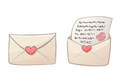 Cartoon love letters. Vector cartoon color love letters with paper red heart: open and close Royalty Free Stock Images