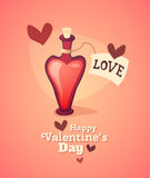 Cartoon love potion icon heart shaped with letter Royalty Free Stock Image