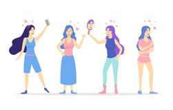 Cartoon Love Yourself Girls Concept Characters People Set. Vector. Cartoon Love Yourself Girls Concept Characters People Set Flat Design. Vector illustration of stock illustration