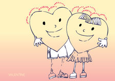 Cartoon loved hearts. Hand drawn cartoon illustration of 2 loving hearts Stock Photography