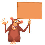 Cartoon lovely monkey holding a wooden sign. Vector illustration royalty free stock photos