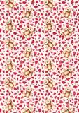 Cartoon lovely Teddy Bear heart Saint Valentine`s day background pattern texture Royalty Free Stock Image