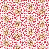 Cartoon lovely Teddy Bear heart Saint Valentine`s day seamless pattern.  Royalty Free Stock Images