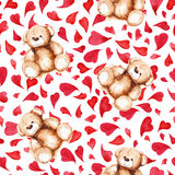 Cartoon lovely Teddy Bear heart Saint Valentine`s day seamless pattern.  Stock Image