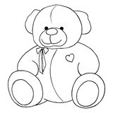 Cartoon lovely Teddy Bear toy monochrome vector line art isolated Royalty Free Stock Photography