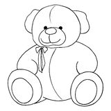 Cartoon lovely Teddy Bear toy monochrome vector line art isolated Royalty Free Stock Photos