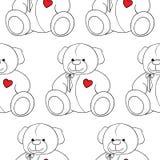 Cartoon lovely Teddy Bear toy monochrome seamless pattern vector Stock Photo