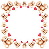Cartoon lovely Teddy Bear toy Saint Valentine's day frame Royalty Free Stock Photography