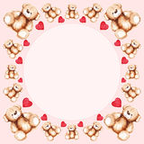 Cartoon lovely Teddy Bear toy Saint Valentine's day frame Stock Image