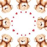 Cartoon lovely Teddy Bear toy Saint Valentine's day frame Stock Photo