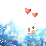 Cartoon lover couple is sitting on red heart balloon swing, being on sky background, Happy Valentines Day concept, Vector Illustra Stock Images