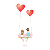 Cartoon lover couple is sitting on red heart balloon swing, being on white background, Happy Valentines Day concept, Vector Illust. Ration, eps10 Stock Image