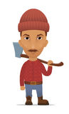 Cartoon lumberjack with an axe Stock Photography