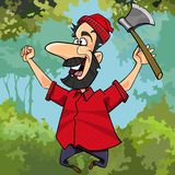 Cartoon lumberjack with axe joyously jumping in the forest Stock Photo