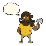 cartoon lumberjack with axe with thought bubble Royalty Free Stock Photo