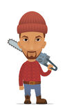 Cartoon lumberjack with a chain saw Royalty Free Stock Images