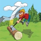 Cartoon lumberjack chopping a huge log Royalty Free Stock Photos