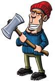 Cartoon lumberjack holding an axe Stock Photo