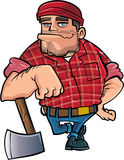 Cartoon lumberjack holding an axe Stock Photo