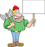 Cartoon lumberjack holding a sign. Stock Image