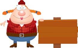 Cartoon Lumberjack Sign Stock Photography