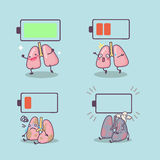 Cartoon lung with battery Stock Images