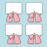Cartoon lung with blank billboard Royalty Free Stock Photography