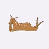 Cartoon lying deer girl isolated Stock Photo