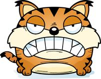 Cartoon Lynx Angry. A cartoon lynx cub with an angry expression stock illustration