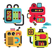 Cartoon machines. Vector illustration of different cute robots and equipment vector illustration