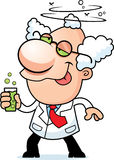 Cartoon Mad Scientist Drinking. An illustration of a cartoon mad scientist drinking a bubbling drink Stock Photos