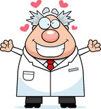 Cartoon Mad Scientist Hug. A cartoon illustration of a mad scientist ready to give a hug Stock Images