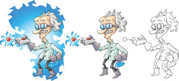 Cartoon mad scientist. Isolated on white Stock Photography