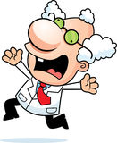 Cartoon Mad Scientist Panicking Stock Photography