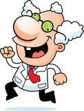 Cartoon Mad Scientist Running Royalty Free Stock Photos