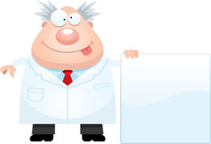 Cartoon Mad Scientist Sign Royalty Free Stock Image