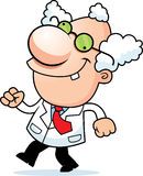Cartoon Mad Scientist Walking Royalty Free Stock Images