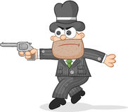 Cartoon Mafia Boss Tiptoeing Stock Photo