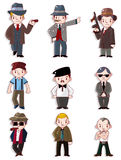 Cartoon mafia icon set Royalty Free Stock Photography