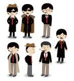 Cartoon mafia icon set Royalty Free Stock Photography