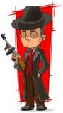 Cartoon mafiosi in black with gun Stock Photography