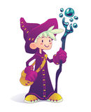 Cartoon mage character. Happy cartoon mage character holding a stick  on a white background. Hero for illustration, fantasy RPG game or part of your design Stock Photo