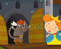 Cartoon magic cat in a castle chamber Royalty Free Stock Photo