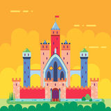 Cartoon Magic Fairytale Castle Flat Design Icon Royalty Free Stock Photography
