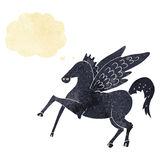 Cartoon magic flying horse with thought bubble Royalty Free Stock Photo